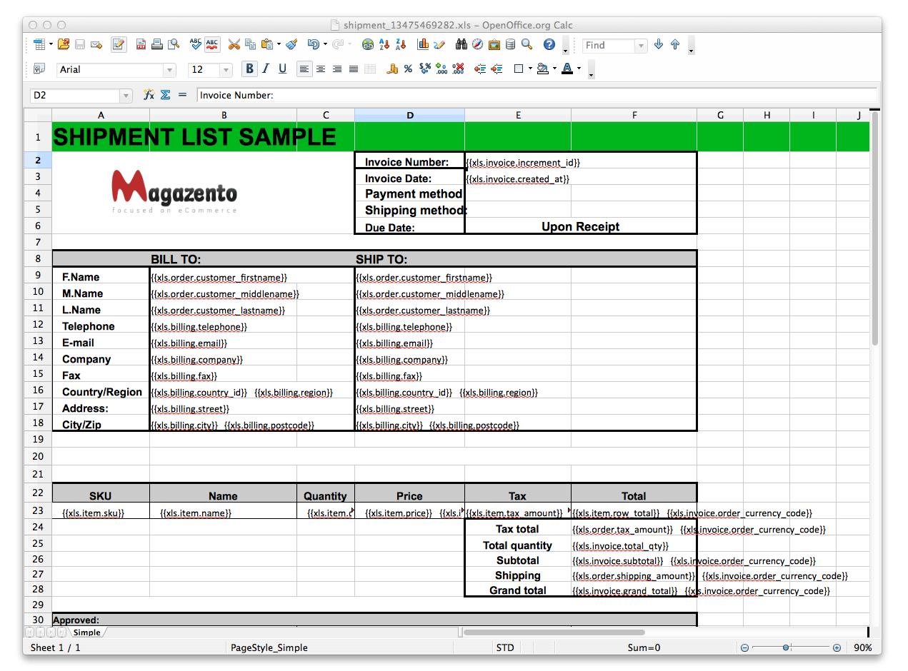Magento EXCEL invoice, shipment, credit memo - Magazento.com